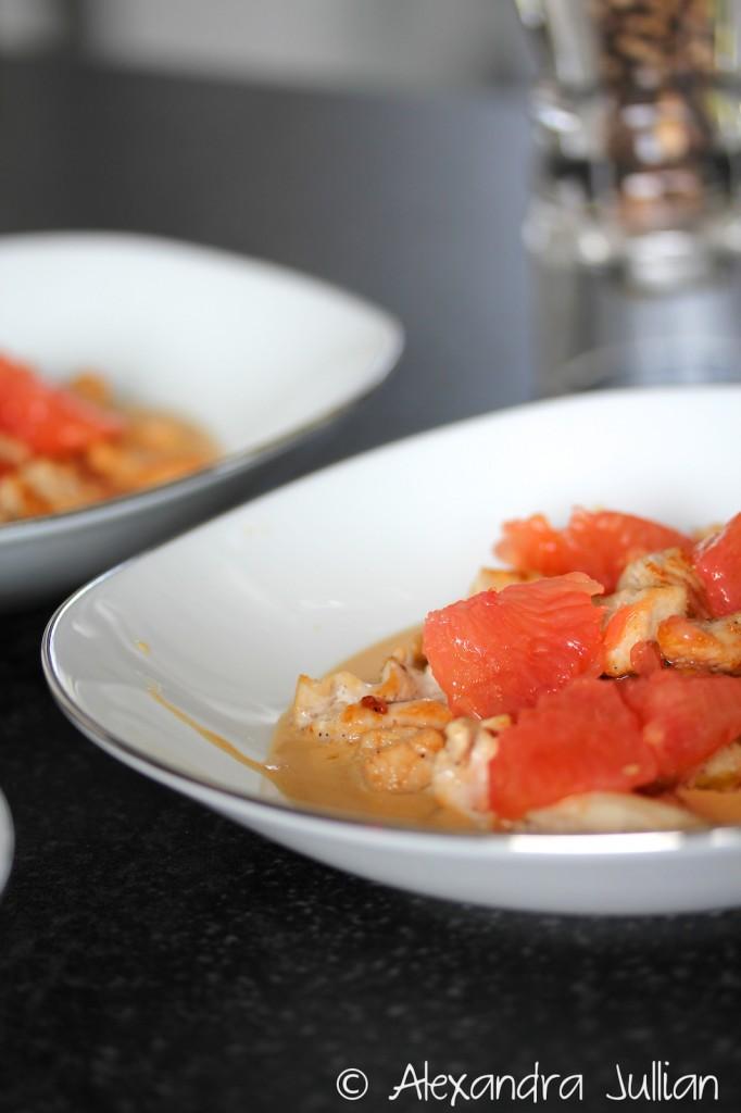 Poulet rôti, sauce miso et pamplemousse
