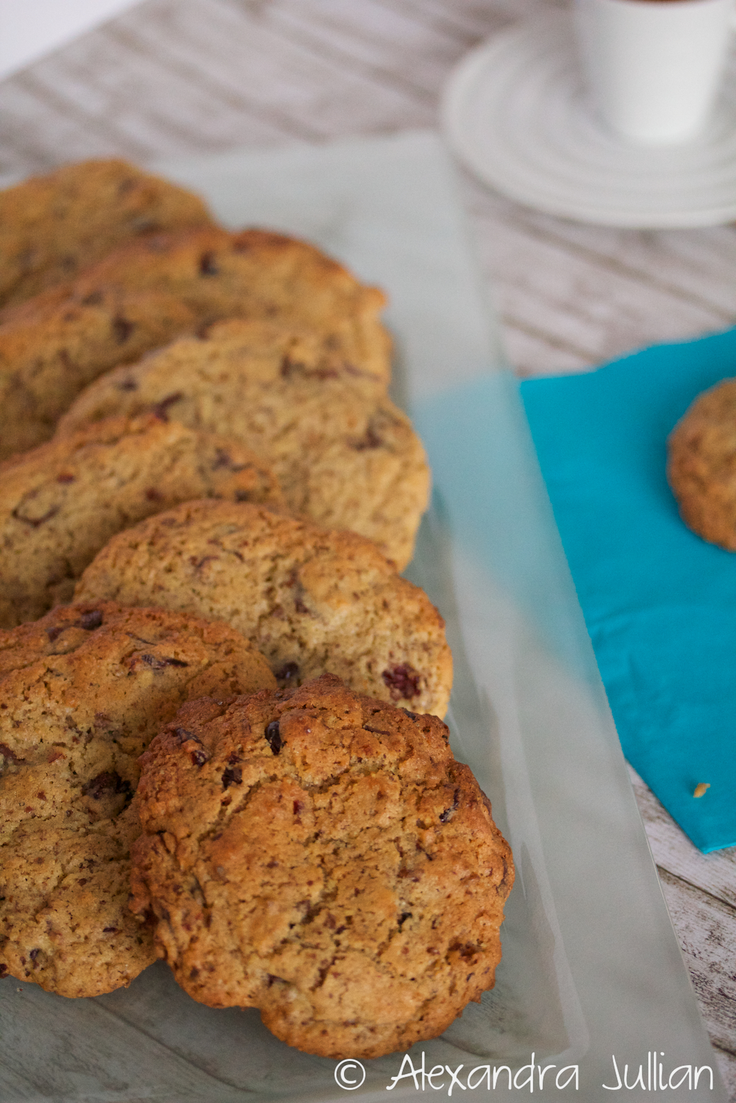 Cookies au chocolat noir, cranberries et graines de lin