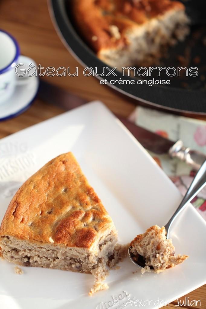 Gâteau aux marrons et crème anglaise