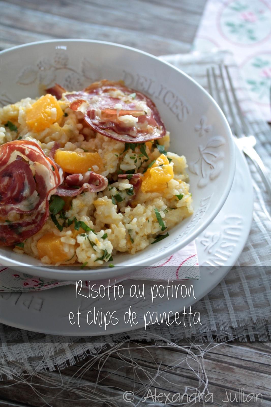 risotto au potiron et chips de pancetta marrons glac s. Black Bedroom Furniture Sets. Home Design Ideas